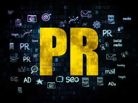 Marketing concept: Pixelated yellow text PR on Digital background with  Hand Drawn Marketing Icons, 3d render