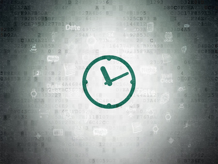 Timeline concept: Painted green Clock icon on Digital Paper background with  Hand Drawing Time Icons, 3d render