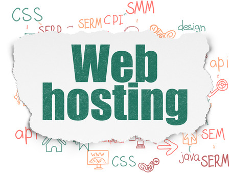Web design concept: Painted green text Web Hosting on Torn Paper background with Scheme Of Hand Drawn Site Development Icons, 3d render