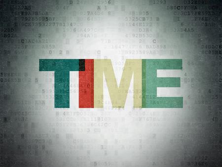 Timeline concept: Painted multicolor text Time on Digital Paper background, 3d render