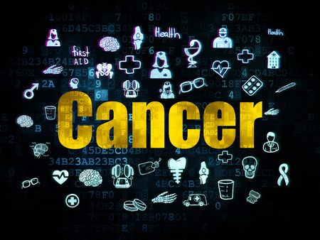 Healthcare concept: Pixelated yellow text Cancer on Digital background with  Hand Drawn Medicine Icons, 3d render