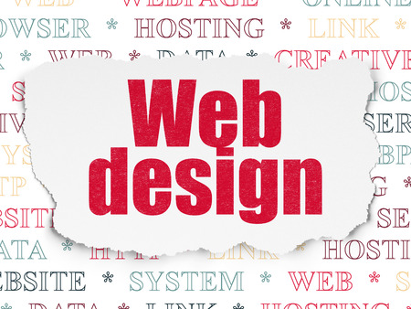 Web development concept: Painted red text Web Design on Torn Paper background with  Tag Cloud, 3d render