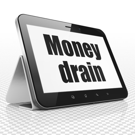 Banking concept: Tablet Computer with black text Money Drain on display
