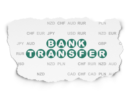 Money concept: Painted green text Bank Transfer on Torn Paper background with  Currency