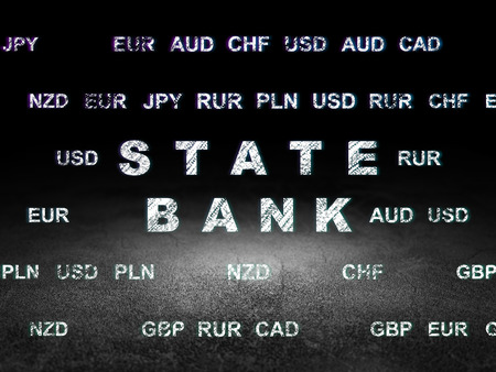 Currency concept: Glowing text State Bank in grunge dark room with Dirty Floor, black background with Currency