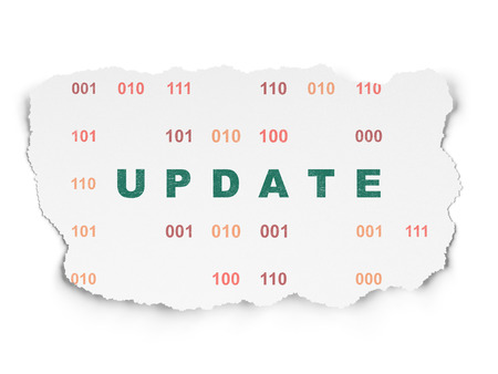 Web design concept: Painted green text Update on Torn Paper background with  Binary Code