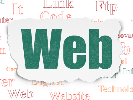 Web development concept: Painted green text Web on Torn Paper background with  Tag Cloud