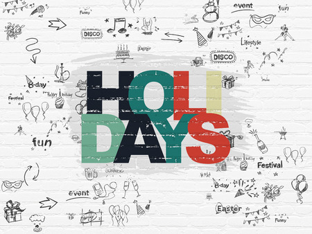 Photo pour Holiday concept: Painted multicolor text Holidays on White Brick wall background with Scheme Of Hand Drawn Holiday Icons - image libre de droit