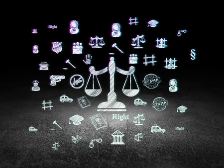Photo for Law concept: Glowing Scales icon in grunge dark room with Dirty Floor, black background with  Hand Drawn Law Icons - Royalty Free Image