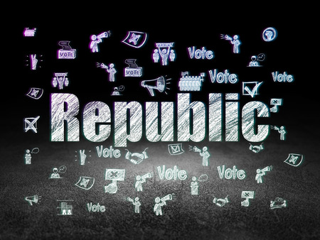 Politics concept: Glowing text Republic,  Hand Drawn Politics Icons in grunge dark room with Dirty Floor, black background