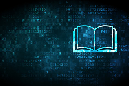 Photo pour Learning concept: pixelated Book icon on digital background, empty copyspace for card, text, advertising - image libre de droit