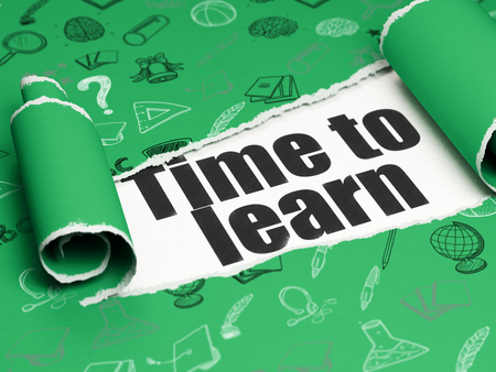Photo pour Learning concept: black text Time to Learn under the curled piece of Green torn paper with  Hand Drawn Education Icons - image libre de droit