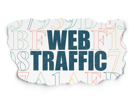 Web development concept: Painted blue text Web Traffic on Torn Paper background with  Hexadecimal Code