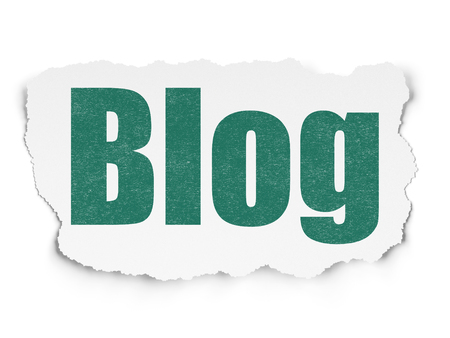 Web design concept: Painted green text Blog on Torn Paper background with  Tag Cloud