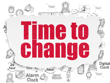 Time concept: Painted red text Time to Change on Torn Paper background with  Hand Drawing Time Icons