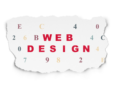 Web design concept: Painted red text Web Design on Torn Paper background with  Hexadecimal Code