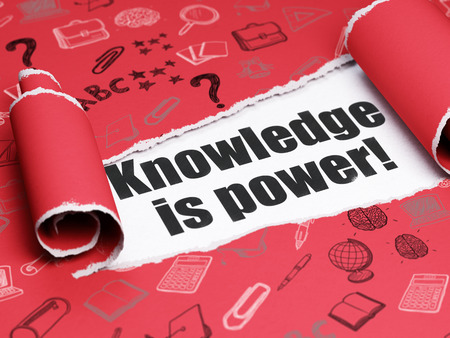 Learning concept: black text Knowledge Is power! under the curled piece of Red torn paper with  Hand Drawn Education Icons