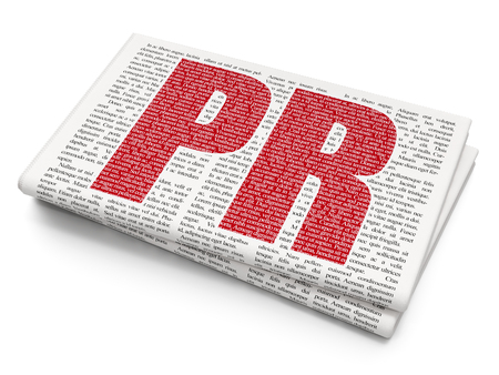 Advertising concept: Pixelated red text PR on Newspaper background