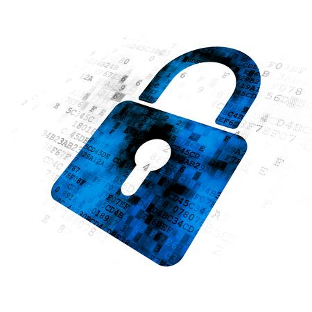 Photo pour Information concept: Pixelated blue Closed Padlock icon on Digital background - image libre de droit