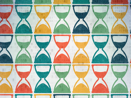 Time concept: Painted multicolor Hourglass icons on Digital Paper background