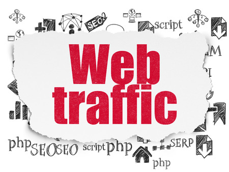 Web design concept: Painted red text Web Traffic on Torn Paper background with  Hand Drawn Site Development Icons