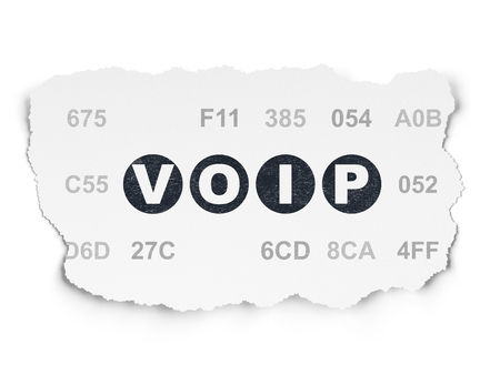 Web development concept: Painted black text VOIP on Torn Paper background with  Hexadecimal Code