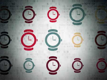 Time concept: Painted multicolor Watch icons on Digital Paper background
