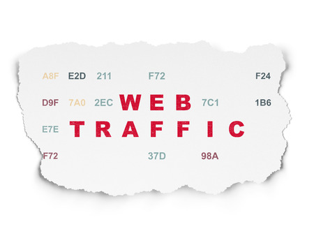 Web development concept: Painted red text Web Traffic on Torn Paper background with  Hexadecimal Code