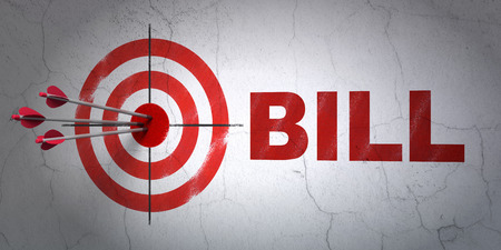 Success money concept: arrows hitting the center of target, Red Bill on wall background, 3D rendering