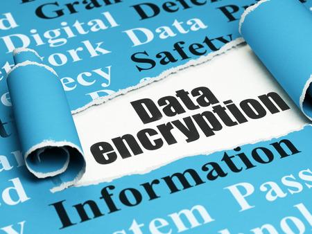 Photo pour Safety concept: black text Data Encryption under the curled piece of Blue torn paper with  Tag Cloud, 3D rendering - image libre de droit