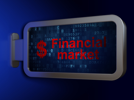 Banking concept: Financial Market and Dollar on advertising billboard background, 3D rendering