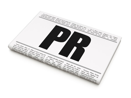 Advertising concept: newspaper headline PR on White background, 3D rendering