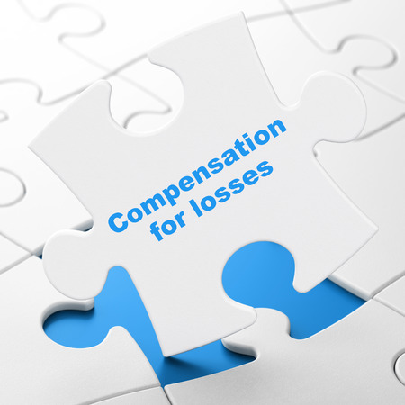 Banking concept: Compensation For losses on White puzzle pieces background, 3D rendering