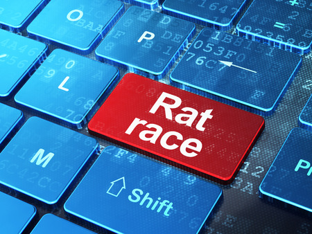 Politics concept: computer keyboard with word Rat Race on enter button background, 3D rendering