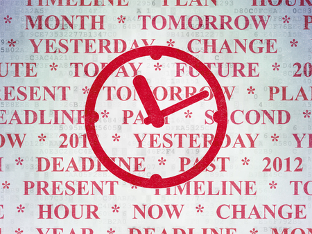 Time concept: Painted red Clock icon on Digital Data Paper background with  Tag Cloud