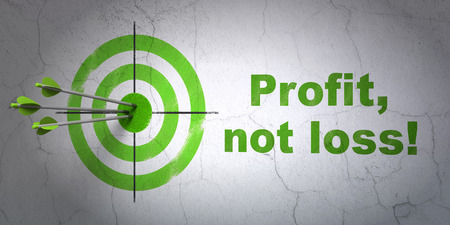 Success finance concept: arrows hitting the center of target, Green Profit, Not Loss! on wall background, 3D rendering