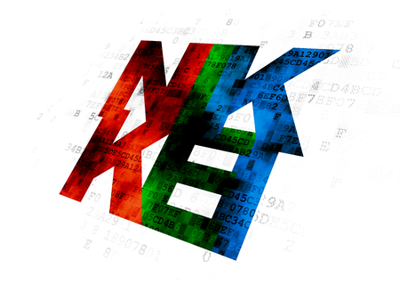 Stock market indexes concept: Pixelated multicolor text Nikkei on Digital background