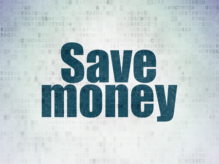 Money concept: Painted blue word Save Money on Digital Data Paper background