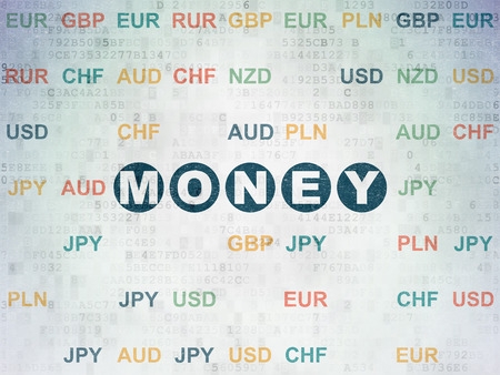 Money concept: Painted blue text Money on Digital Data Paper background with Currency