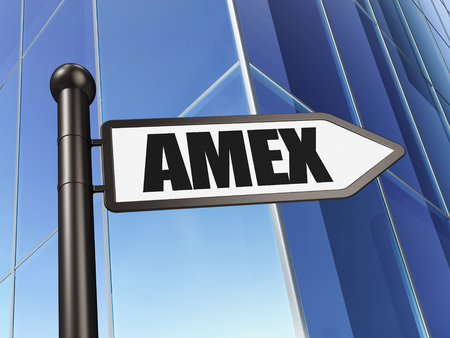 Stock market indexes concept: sign AMEX on Building background, 3D rendering