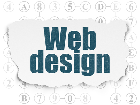 Web development concept: Painted blue text Web Design on Torn Paper background with Scheme Of Hexadecimal Code