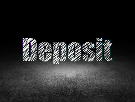 Money concept: Glowing text Deposit in grunge dark room with Dirty Floor, black background