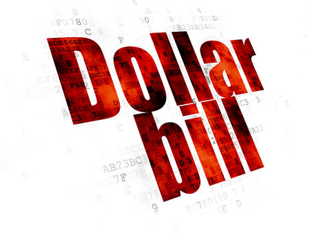 Banking concept: Pixelated red text Dollar Bill on Digital background