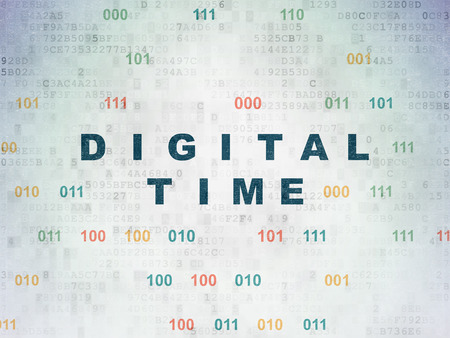 Time concept: Painted blue text Digital Time on Digital Data Paper background with Binary Code