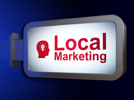 Marketing concept: Local Marketing and Head With Light Bulb on advertising billboard background, 3D rendering