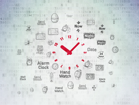 Time concept: Painted red Clock icon on Digital Data Paper background with  Hand Drawing Time Icons
