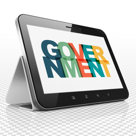 Political concept: Tablet Computer with Painted multicolor text Government on display, 3D rendering