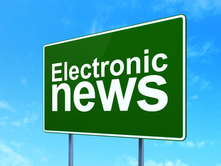 News concept: Electronic News on green road highway sign, clear blue sky background, 3D rendering