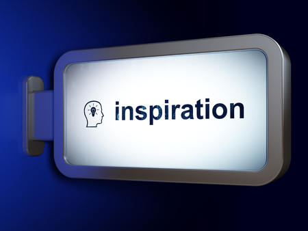 Marketing concept: Inspiration and Head With Lightbulb on advertising billboard background, 3D rendering