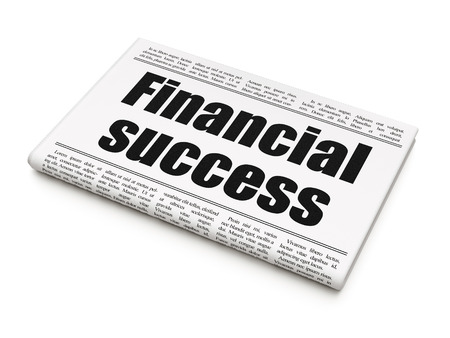 Currency concept: newspaper headline Financial Success on White background, 3D rendering